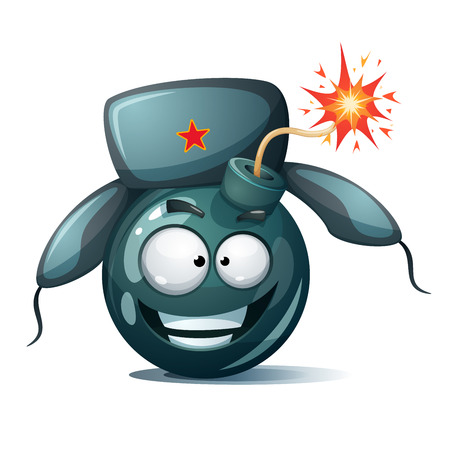 Cartoon bomb icon. Disgust smiley.