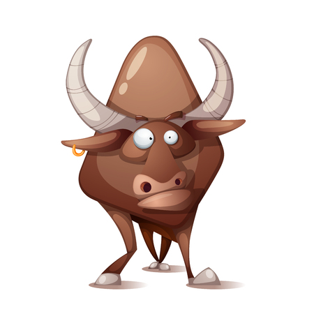 Bull in cartoon Illustration.