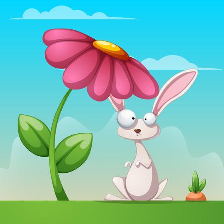 Rabbit under flower in cartoon illustration.