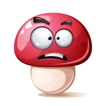 Funny, cute, crazy cartoon mushroom illustration.