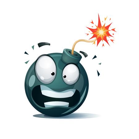 Cartoon bomb, Disgust smiley. Illustration