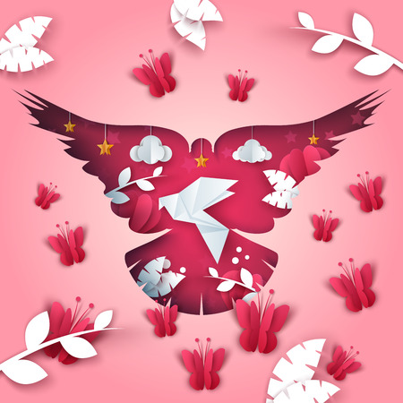 Paper dove illustration. butterfly, branch, leaf cloud star Vector eps 10
