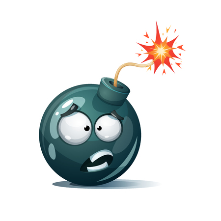 Confuse cartoon bomb, spark icon illustration.