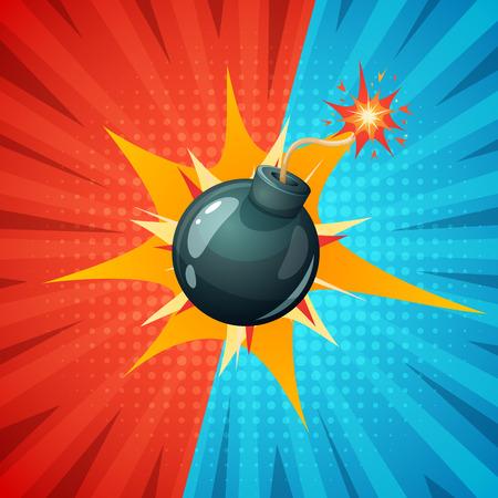 Cartoon bomb, fuse, wick spark icon vector.