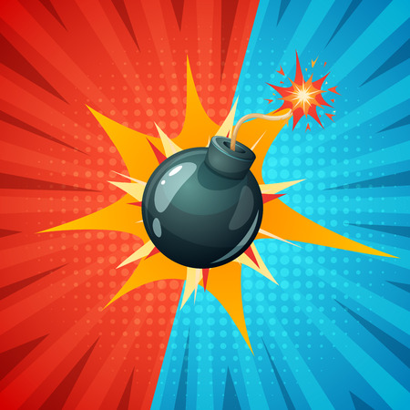 Cartoon bomb, fuse, wick spark icon vector.