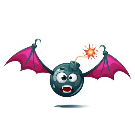 Cartoon bomb, fuse, wick, spark icon Bat smiley Vector eps 10