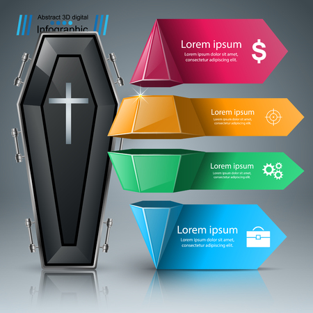 Coffin logo. Business Infographics origami style Vector illustration.