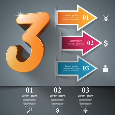 Infographic three icons. Arrows icon. 일러스트