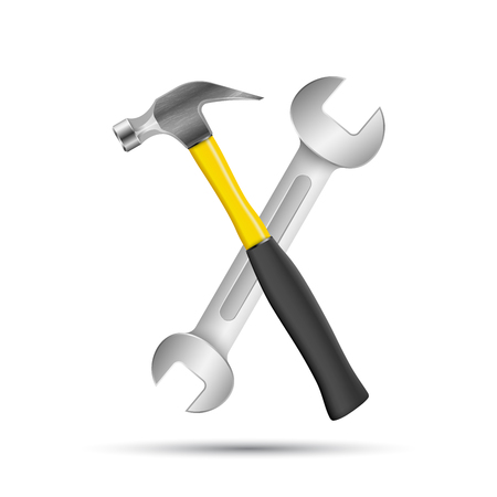 Wrench, hammer screwdriver, repair icon, business infographic. Illustration