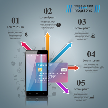 Bank, card, smartphone, digital gadget icon. Business infographi