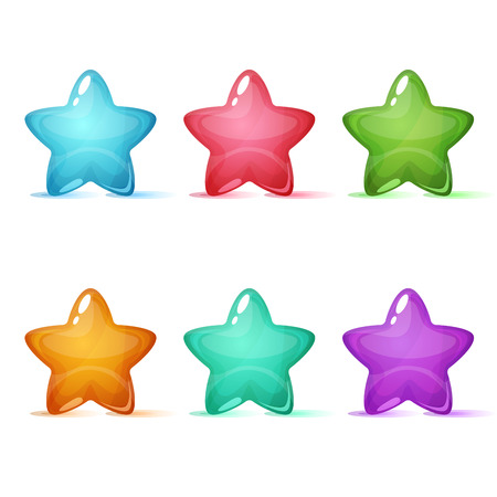 Set six color star icon.