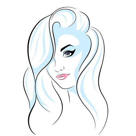 Beautiful head girl - line illustration.