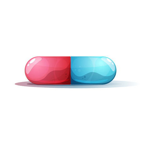 Cartoon pill illustration. Rad and blue. Stock Vector - 102161843