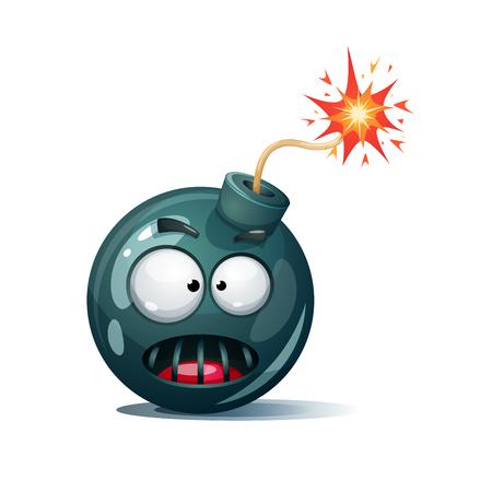 Bomba de dibujos animados, fusible, mecha, icono de chispa. Smiley de terror.