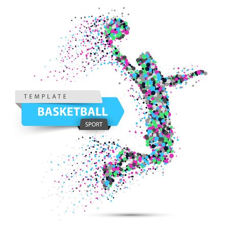 Dot basketball illustration. Basketball player throws the ball.