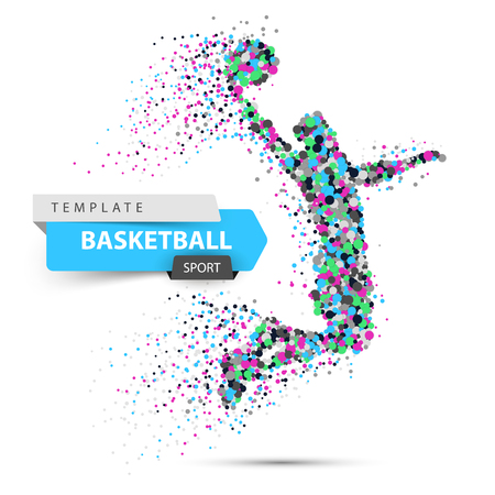 Dot basketball illustration. Basketball player throws the ball.