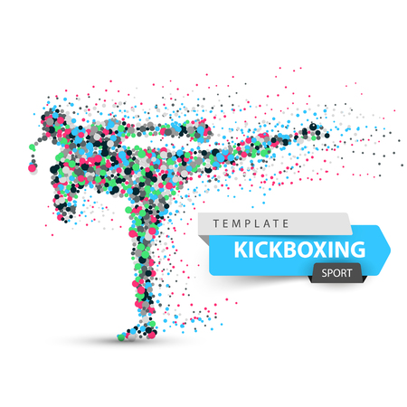 Male athlete is kicking. Sport dot illustration.