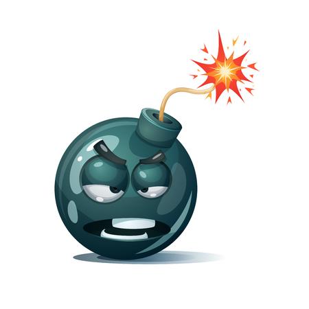 Cartoon bomb, fuse, wick, spark icon. Spite smiley.