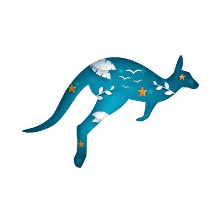 Cartoon paper kangaroo. Cloud landscape. Illustration