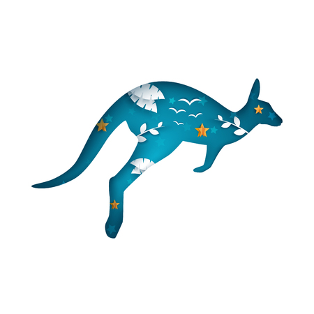 Cartoon paper kangaroo. Cloud landscape. Illustration