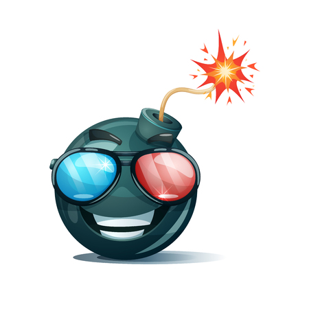 Cartoon bomb, fuse, wick, spark icon. Cinema glasses smiley. Ilustrace