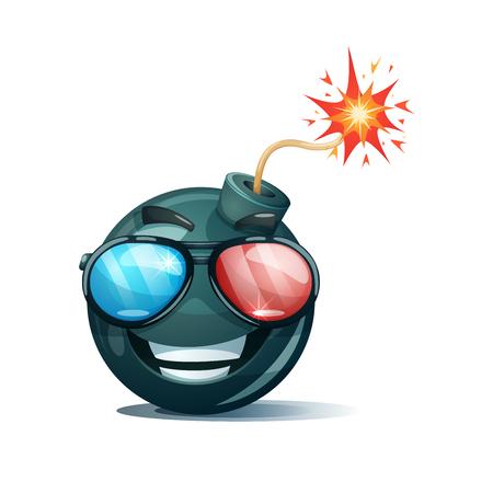 Cartoon bomb, fuse, wick, spark icon. Cinema glasses smiley. Illustration