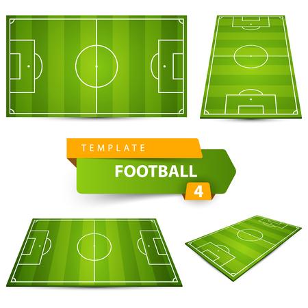 Football, soccer court. Four items. Standard-Bild - 103386141