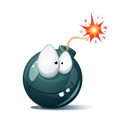 Cute, funny, crazy - cartoon bomb character. Ah,oh smiley.