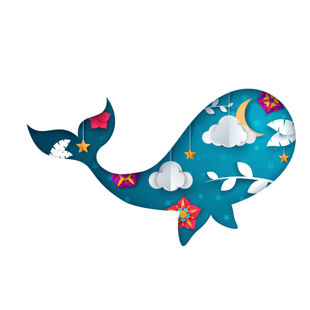 Paper whale illustration. Cartoon origami landscape. 일러스트