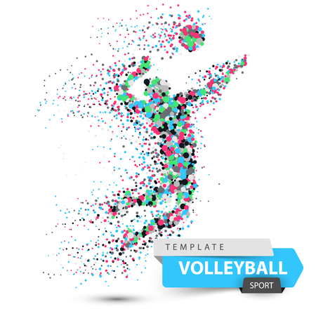 Volleyball player. Dot game illustration.