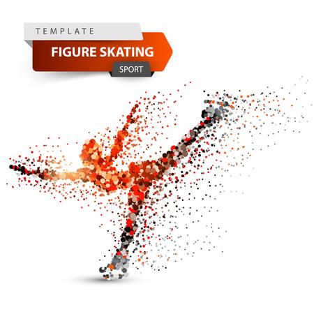 Eiskunstlauf - Punktillustration. Sportvorlage.