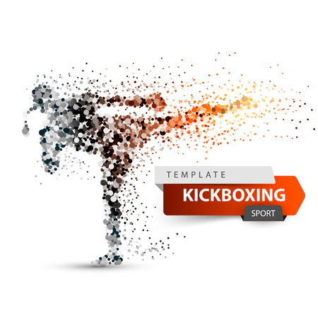 Male athlete is kicking. Sport dot illustration. Vector eps 10