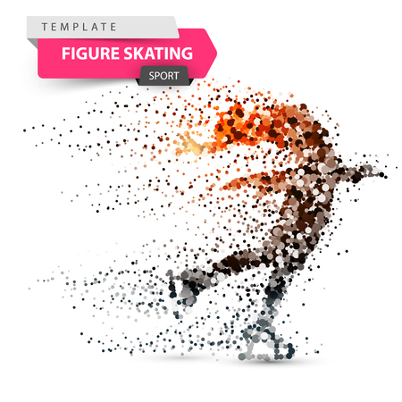 Figure skating - dot illustration. Sport template. Vector eps 10 Vectores