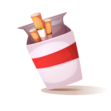 Cartoon cigarette illustration. Unhealthy Lifestyle. Vector eps 10