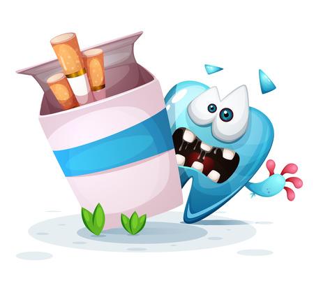Smoking hurts your teeth. Cartoon illustration. Vector eps 10