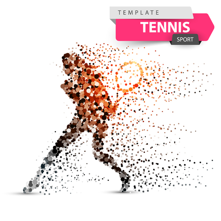 Big tennis - dot illustration. Sport template.