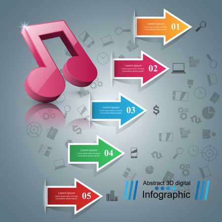 Infographic design template and marketing icons. Note icon. Vectores