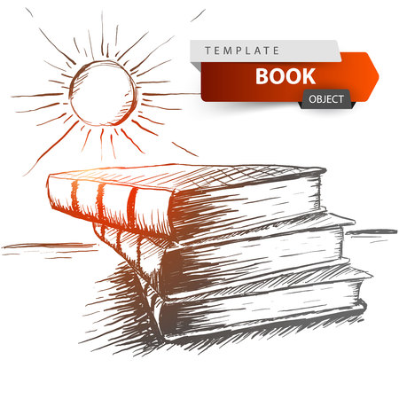 Book and sun - grey sketch illustration. Vector eps 10.