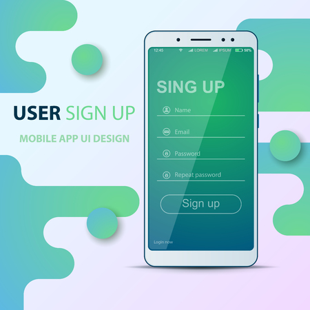 User Interface design. Smartphone icon. Login, password, sign up, register. Ilustrace
