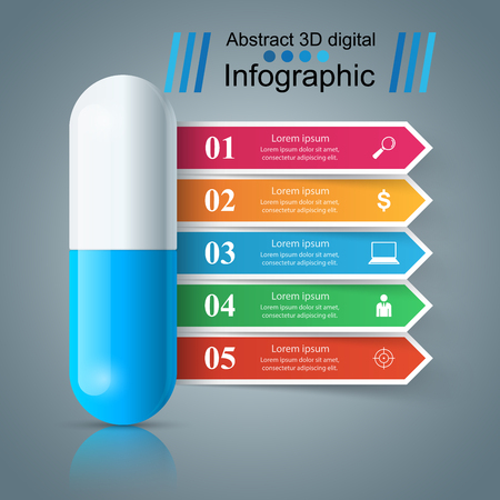 Tablet pill, pharmacology infographic.