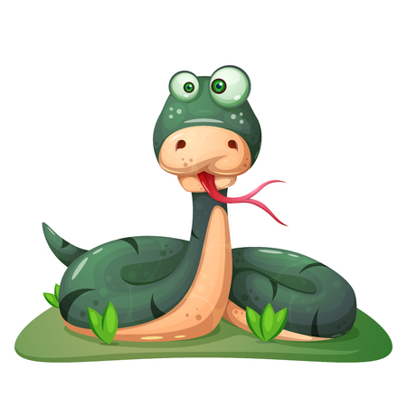 Cute, funny, crazy snake illustration Vector eps 10