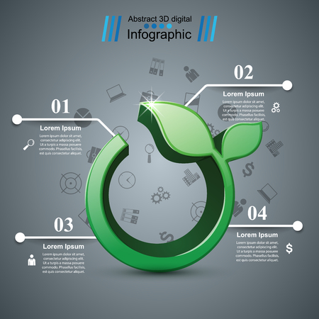 Grass 3d icon. Health infographic. Vector eps 10