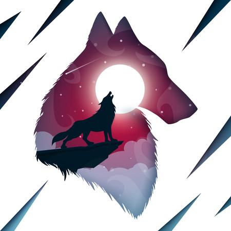 Paisaje de papel de dibujos animados. Ilustración de lobo. Vector eps 10