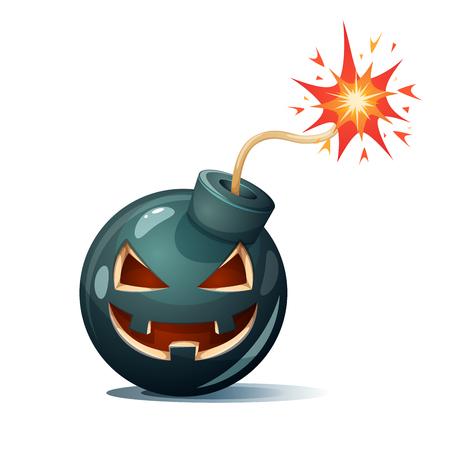 Cartoon bomb, pumpkin characters. Halloween illustration Vector eps 10 Illustration