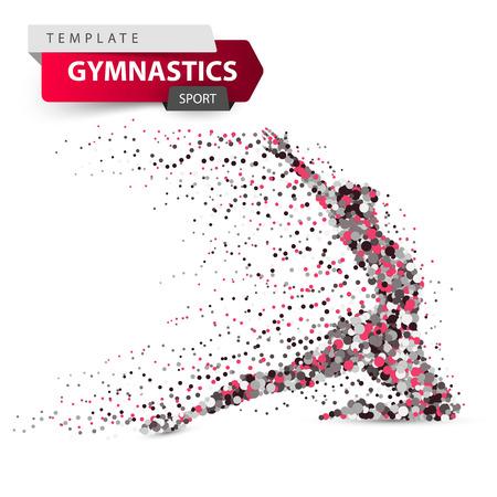 Gymnastik, Sport - Punktabbildung auf dem weißen Hintergrund.