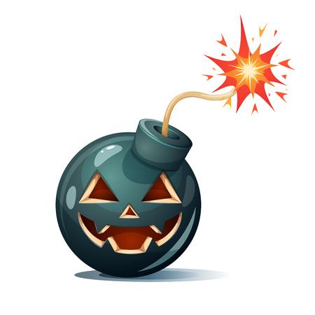 Cartoon bomb, pumpkin characters. Halloween illustration Vector eps 10 Иллюстрация