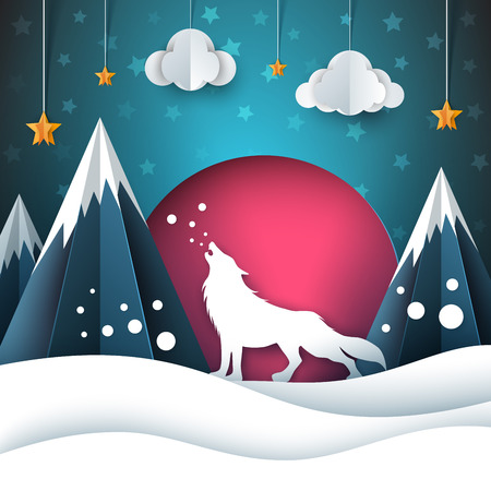 Cartoon paper landscape. Wolf illustration. Merry christmas.