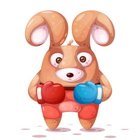 Sport, boxing illustration. Crazy rabbit characters. Illustration