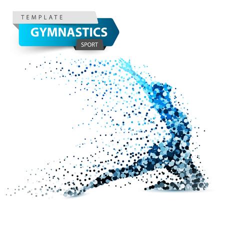 Gymnastik, Sport - Punktabbildung auf dem weißen Hintergrund. Vektorgrafik