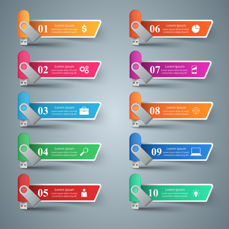 Flash color usb - business infographic. Vector eps 10